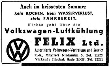 VW Anzeige der gaarge Felix in Tel Aviv auf deutsch.